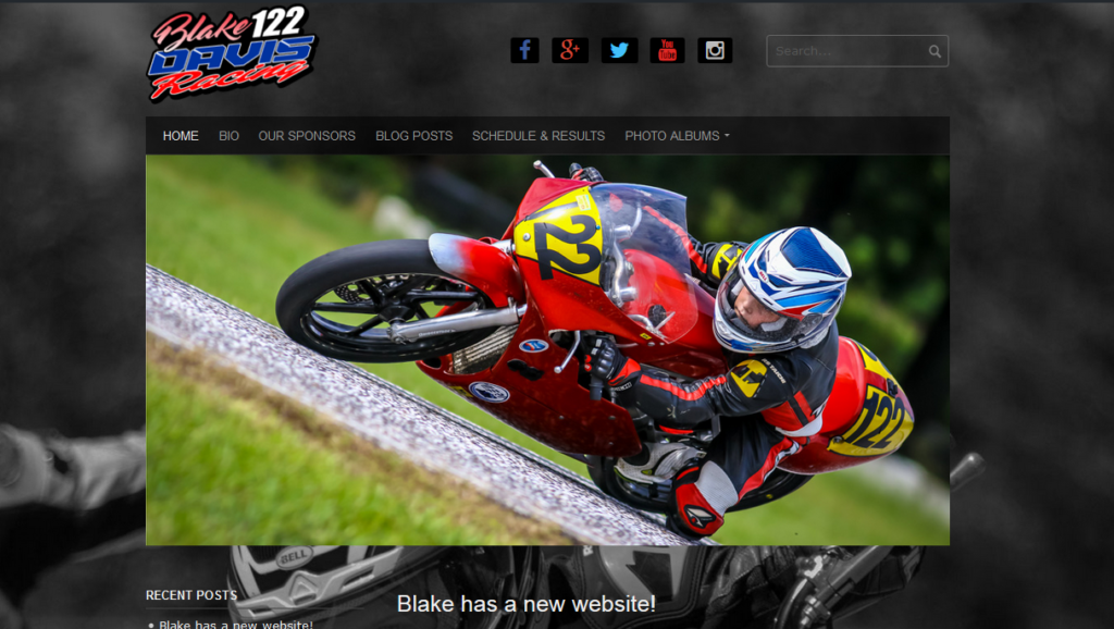 Blake Davis Racing' new website